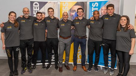Nino Severino, centre, with his team at the University of Suffolk Hub. Picture: PAVEL KRICKA