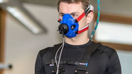 National swimmer Reg Lloyd undergoes V02 max testing at the University of Suffolk Hub. Picture: PAVE