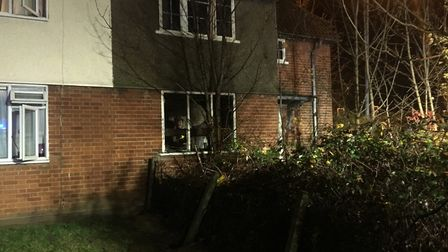 Fire broke out following an explosion at a property in Hadleigh Road, Ipswich Picture: TOM POTTER