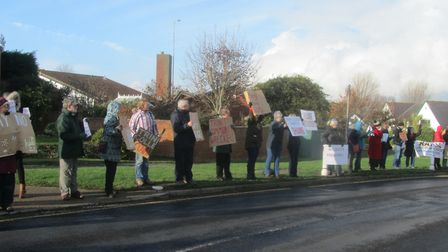 Passing cars honked their horns in support of the protest Picture: REBECCA ATHERSTONE