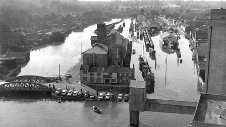 A high tide in September 1969 saw the area around Stoke Bridge, Ipswich flooded. This photograph, fr