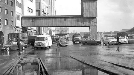 Traffic flows again as flood water recedes around the Stoke Bridge area of Ipswich in September 1969