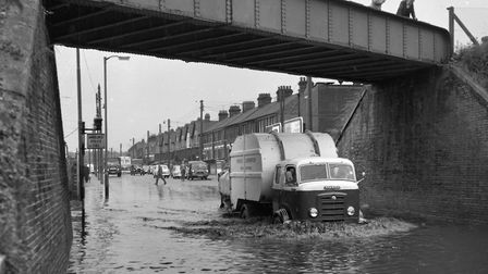 The road dips under the rail bridge in Wherstead Road, Ipswich. This part of the road often flooded