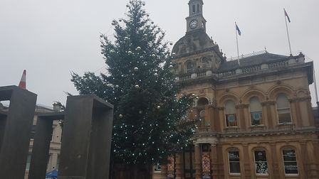 The cone could be seen next to the Christmas tree which was turned on for the first time the day bef