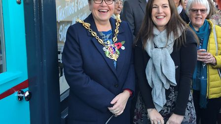 Mayor Jane Riley and Danielle Hopkinson smiling as they talk to the crowd gathered on Stoke Street,