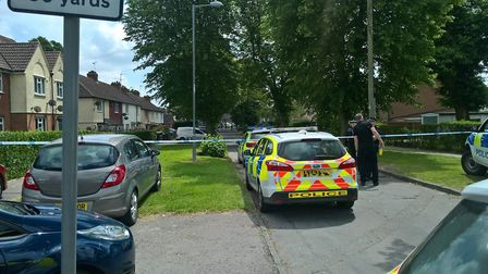 Police at the scene of the alleged murder of Tavis Spencer-Aitkens in Packard Avenue, Ipswich Pictur