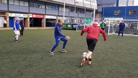 'Wots Up Warriors' disability football tream train at Portman Road with Harry Wright and Ben Folami