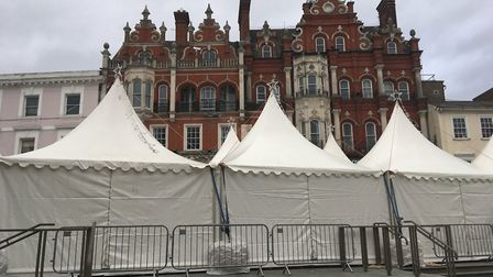 Why are there white tents on the Cornhill in Ipswich Town Centre? Picture: SUZANNE DAY