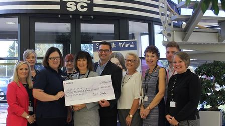Major employer MSC UK presents record �30,000 to its charity of the year, Suffolk MIND Picture: MSC