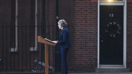Prime Minister Theresa May making a statement outside 10 Downing Street, London this mornign Picture