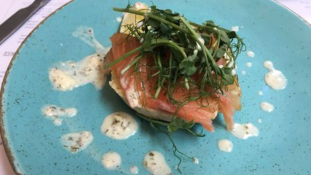 Vodka cured salmon with gin and dill dressing on homemade English muffin Picture: Archant