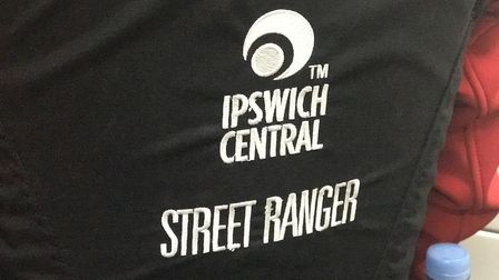 Ipswich Central Street Ranger logo on back of stab vest. Picture: NEIL PERRY