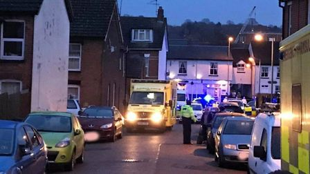 Ambulance crews are also at the scene in Kenyon Street Picture: ARCHANT
