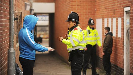 Student police officers taking part in stop and search training Picture: IAN BURT