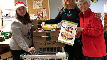 Clients and customers at Basepoint, Ipswich have made a Christmas collection for the FIND Foodbank.