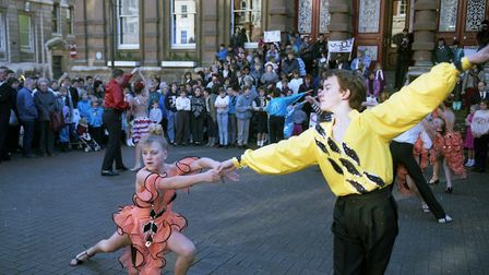 """Dancers provided a colourful """"Save Our School"""" demonstration on the Cornhill, Ipswich, in January 19"""