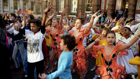 """Young dancers from the Arlington Ballroom, Ipswich, held a """"Save Our School"""" demonstration on the Co"""