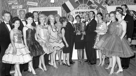 A prize presentation at the Arlington Ballroom, Ipswich, in January 1968. Picture: IAN MCGRATH