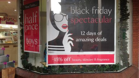 A Black Friday Spectacular sign at Debenhams in Ipswich. Picture: JUDY RIMMER