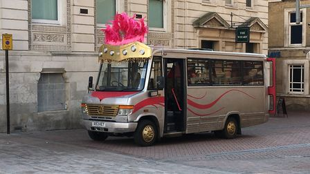 The bus featured in the new Channel 4 series Drag Lab, filming on Ipswich Cornhill Picture: JASON NO