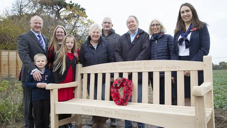 The new memorial bench at the Bloor Homes' Thurmans Grove development in Trimley St Mary. Left to ri