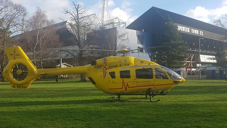 An air ambulance landed close to Portman Road stadium. Picture: ARCHANT