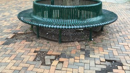Trees and vehicles are causing serious damage to the paving in Arras Square. Picture: PAUL GEATER