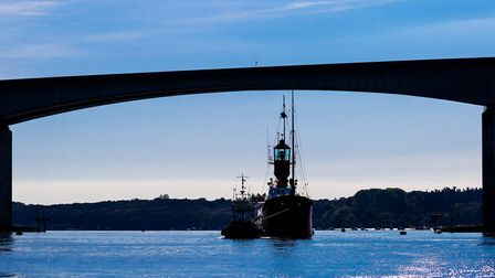 Ship heads under the Orwell Bridge, on her way to ABP's Port of Ipswich. Picture: Stephen Waller/AB