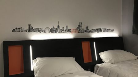 One of the new twin rooms at easyHotel Ipswich features Ipswich town centre artwork. Picture: SOPHIE