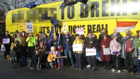 The bus visited Ipswich with a provocative slogan about Brexit. Picture: RICHARD HARE