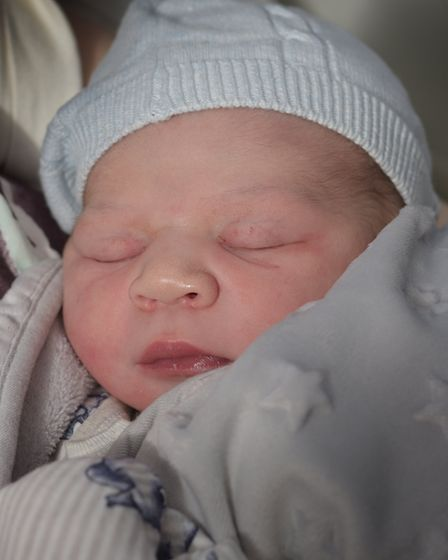 Theo arrived at 11.38am and was the fifth arrival at Ipswich Hospital on Christmas Day Picture: SAR
