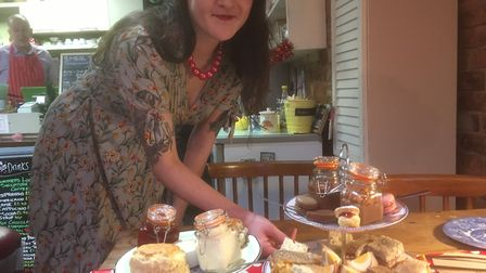 Becca Mears of Doorsteps cafe, with one of her special cream teas