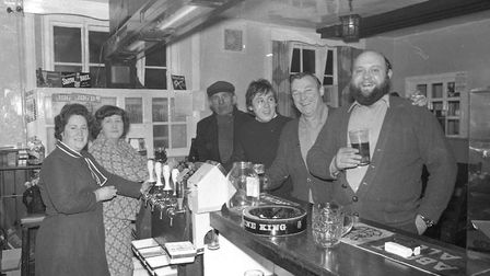 Behind the bar in the Claydon Crown in 1975