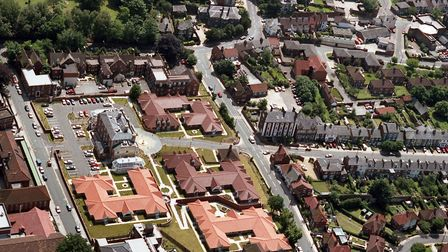 Anglesea Heights from the air in June 1992. The original Victorian hospital building is left of cent