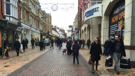Just days before Christmas, Ipswich town centre was bustling with shoppers. Picture: PAUL GEATER