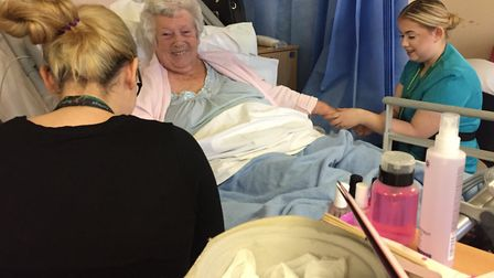 The students have been offering pampering sessions to patients at Ipswich Hospital Picture: SUFFOLK