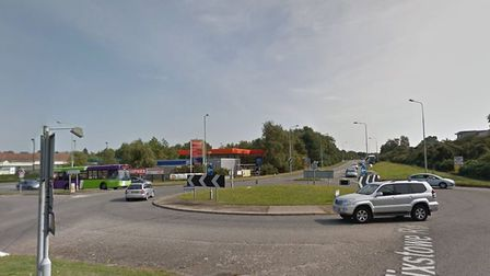 The accident is causing heavy traffic on the Felixstowe Road Picture: GOOGLE MAPS