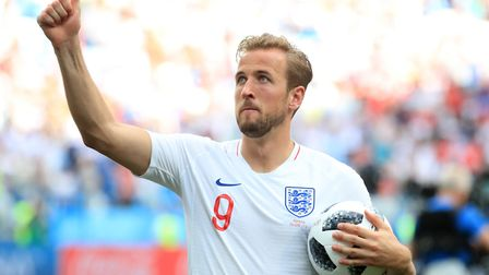 England's Harry Kane celebrates with the match ball after the final whistle during the FIFA World Cu