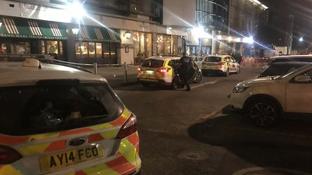 Police at the scene outside Nando's at Cardinal Park in Ipswich Picture: ARCHANT
