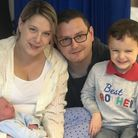Oli Phillips and Ellie Linsey with newborn Theodore and four-year-old brother Dylan at West Suffolk