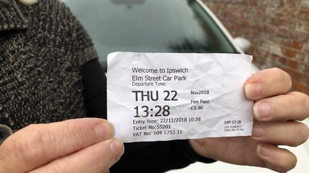 Mrs Harrald has the parking ticket from the car park she did use in Elm Street, Ipswich Picture: JAK