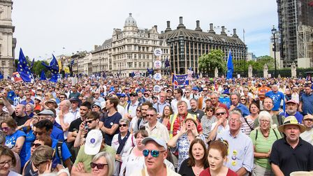 Anti-Brexit demonstrators fill Parliament Square in central London, during the People's Vote march,