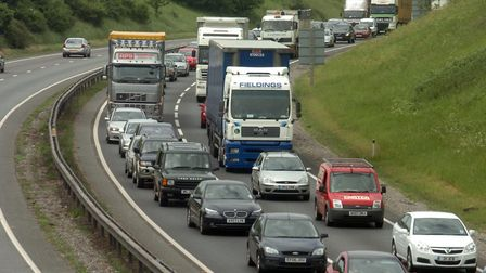 An 81-year-old woman from Ipswich has died following a four-vehicle collision on the A14 at Copdock