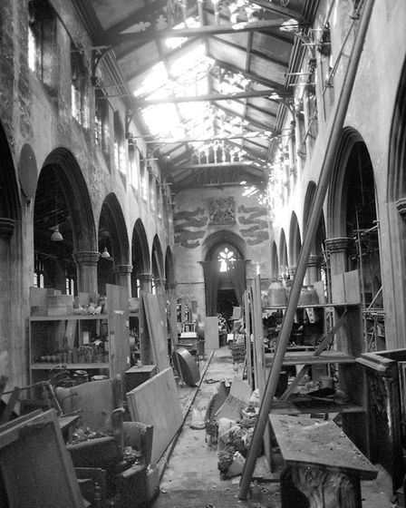 The damaged interior of St Clements Church, Ipswich, following the fire in September 1995. The church was then being used...