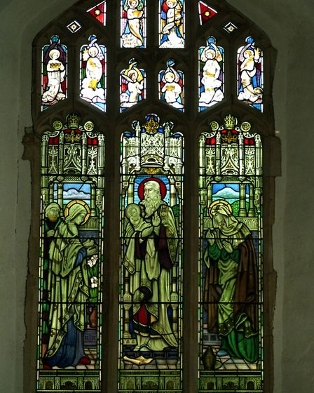 A stained glass window at St Clements Church, Ipswich, after cleaning following the fire in the church in 1995. Taken in...