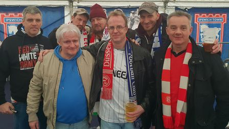 The German fans enjoyed a couple of pints of beer before the big match Picture: ADAM HOWLETT