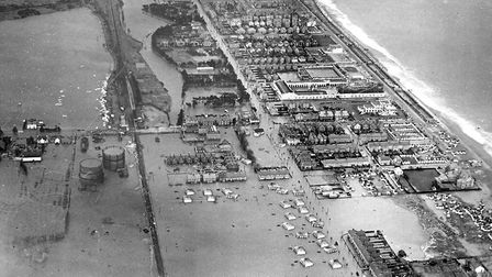 Aerial view of the area of Felixstowe affected by the 1953 floods Picture: ARCHANT ARCHIVE