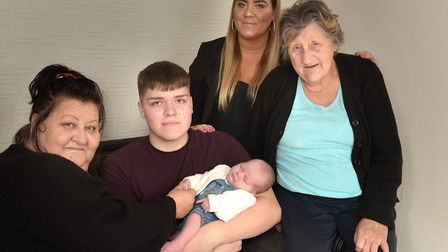 Five generations of one family - Great grandmother Debbie Brimble, aged 58, dad Jack Brimble, aged 1