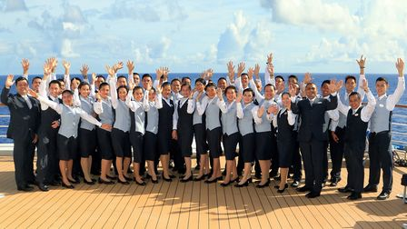 Award for Fred. Olsen cruise lines for best itineries Staff on deck on the Balmoral Picture: PETER
