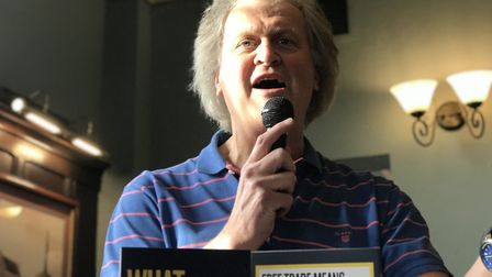Wetherspoons Chairman Tim Martin speaks at The Cricketers in Ipswich